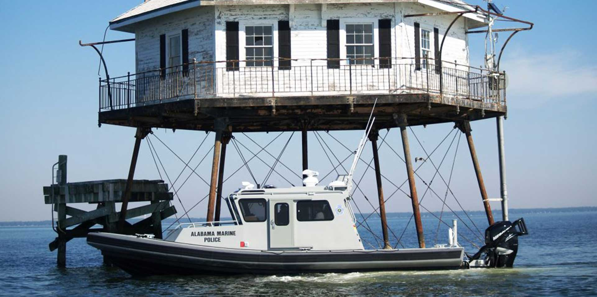 Silver Ships Ambar Am 1100 Alabama Marine Police boat with lighthouse