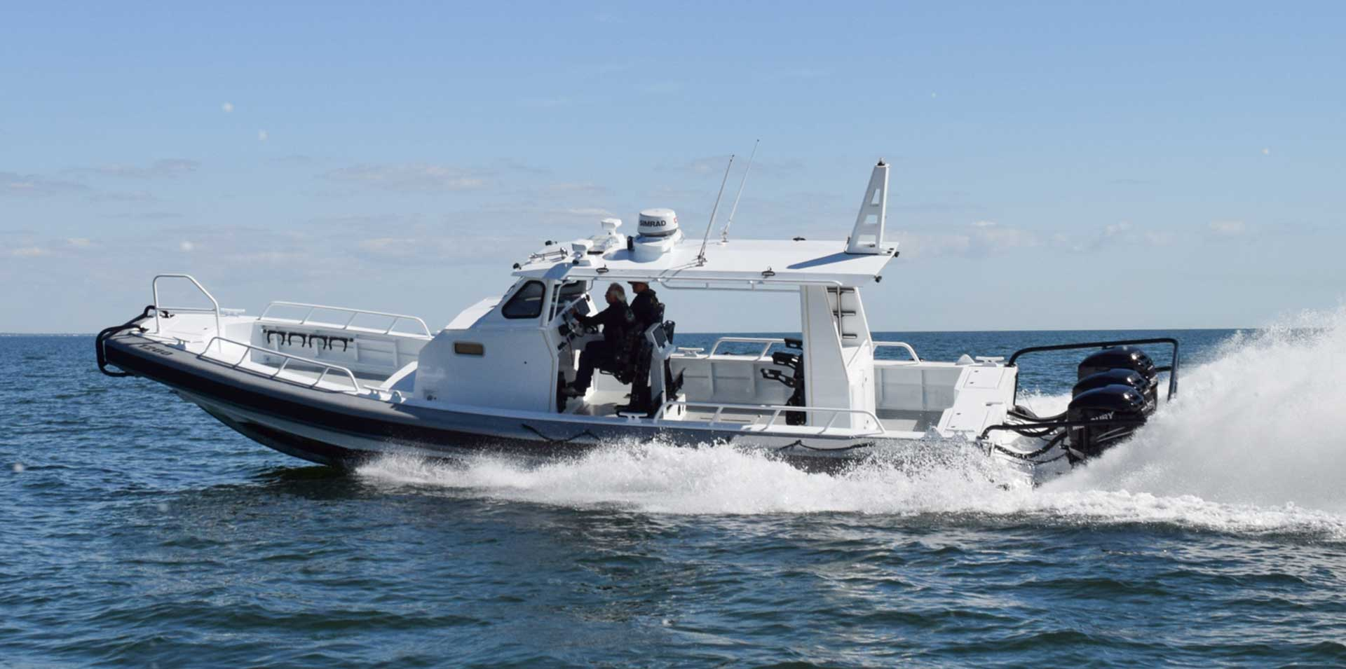 Silver Ships Ambar Series AM 1200 patrol boat in action on ocean