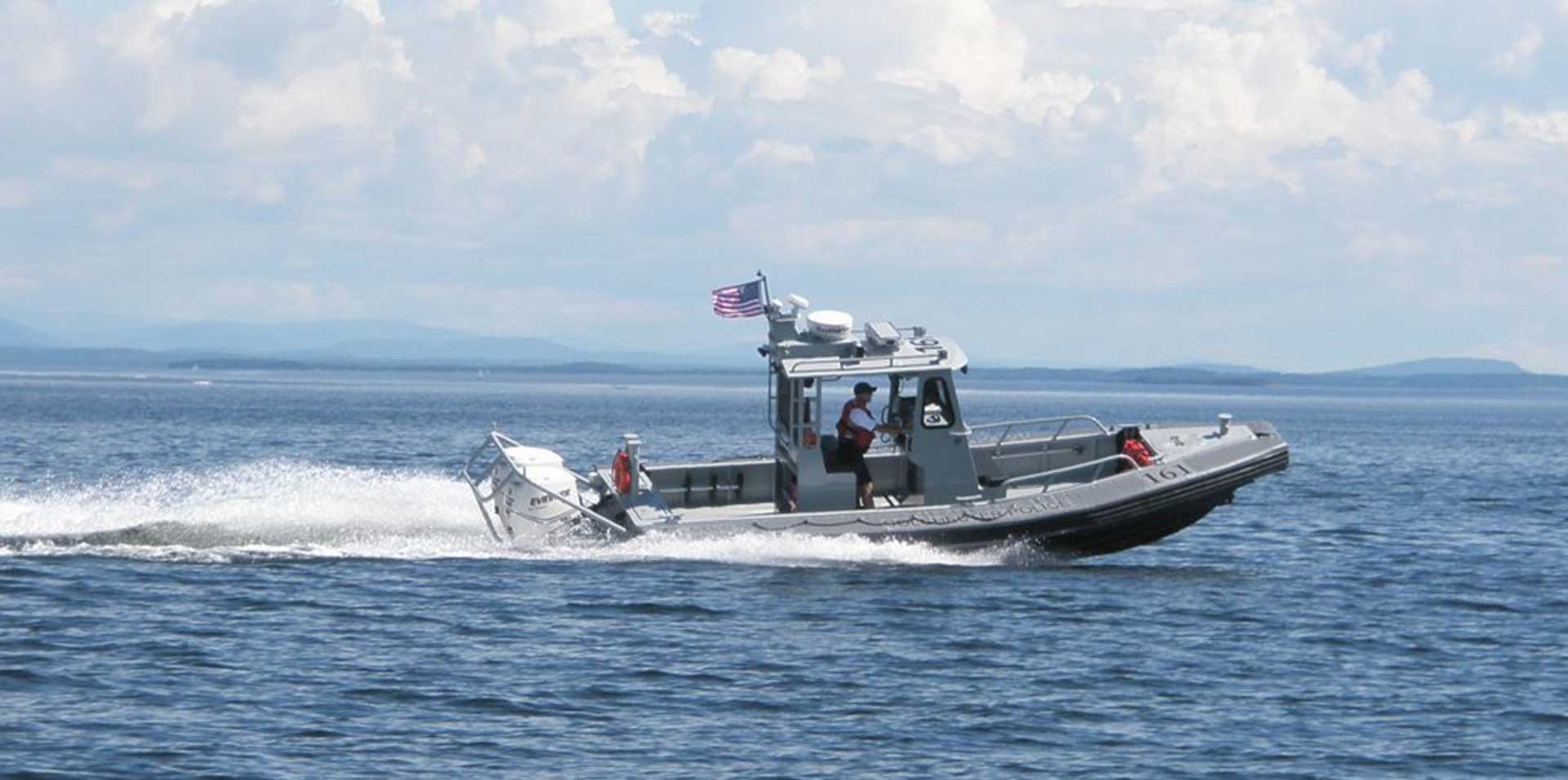 Silver Ships Ambar Series AM 800 patrol boat open pilothouse