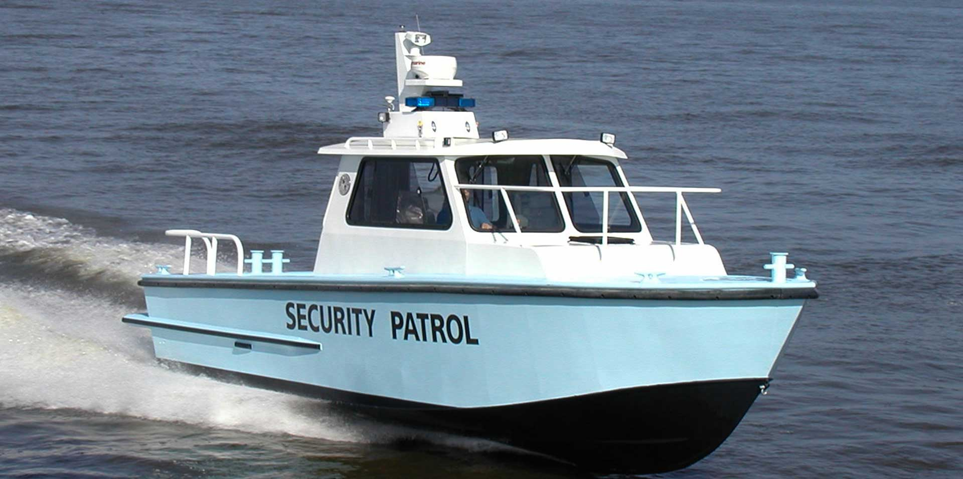 Silver Ships Endeavor Series security patrol boat on the water