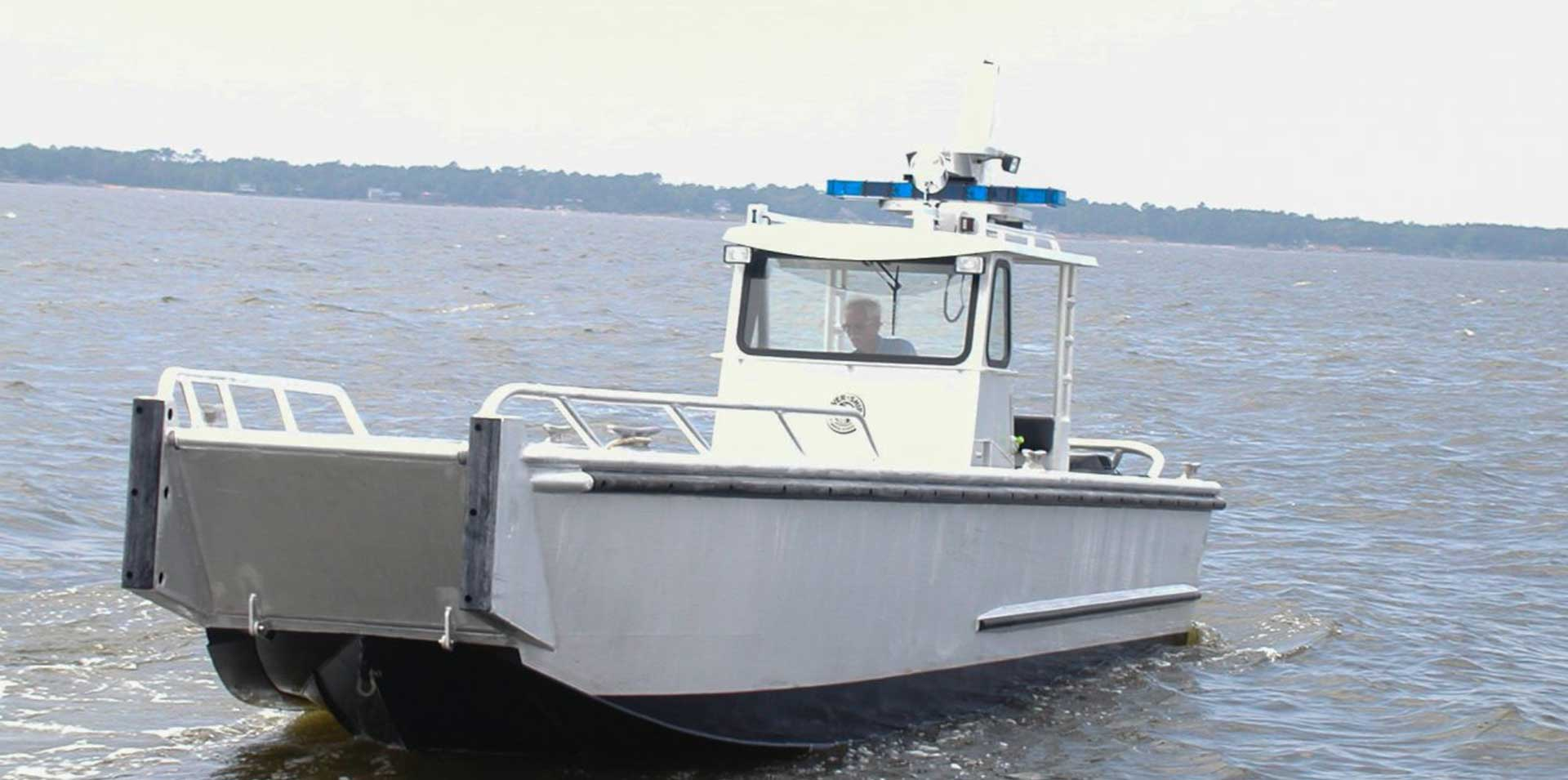 Silver Ships Explorer Vessel police boat with bow gate