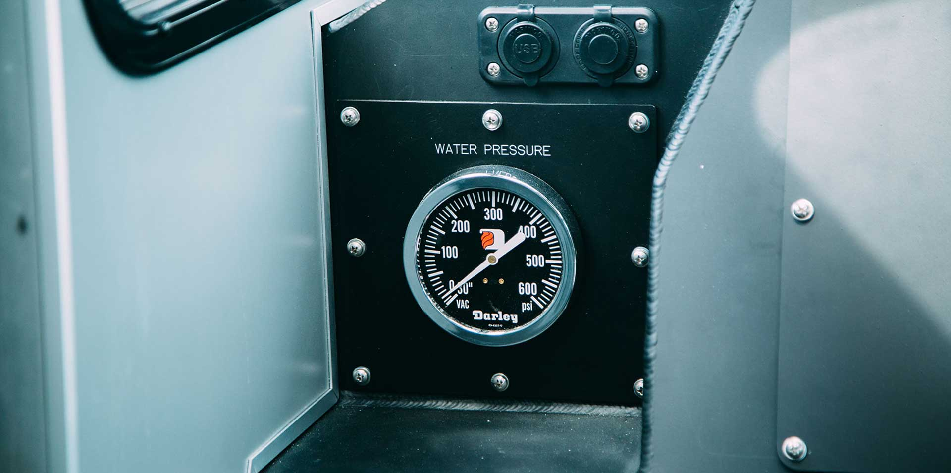 Silver Ships water pressure gauge in fire boat