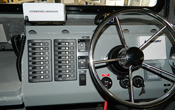 Silver Ships boat steering wheel and console