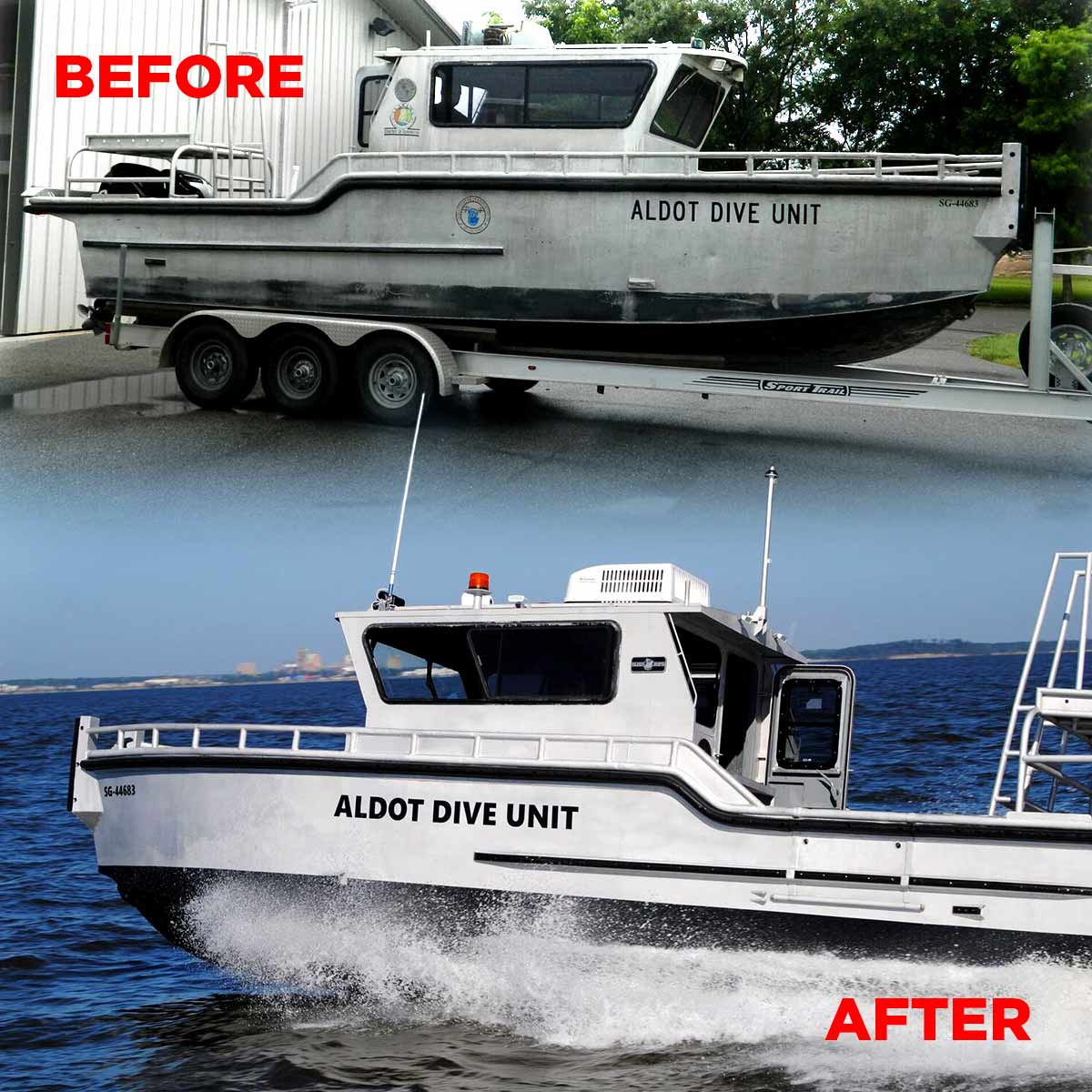 Silver Ships before and after of Alabama Dive Unit boat refurbishment