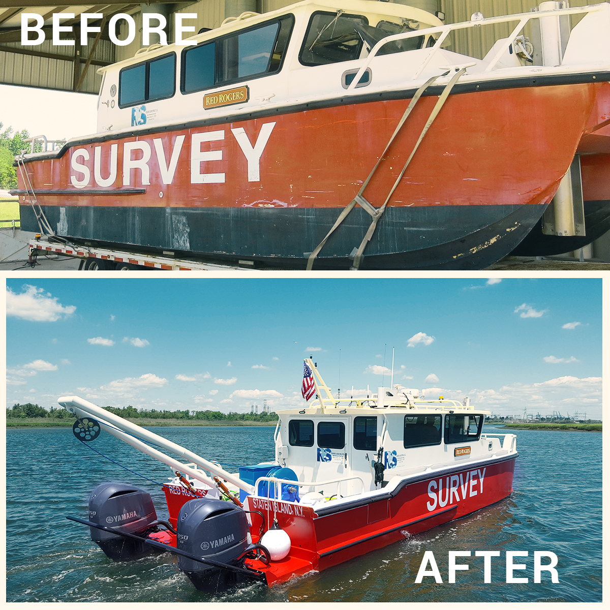 before and after photos of refurbished survey boat