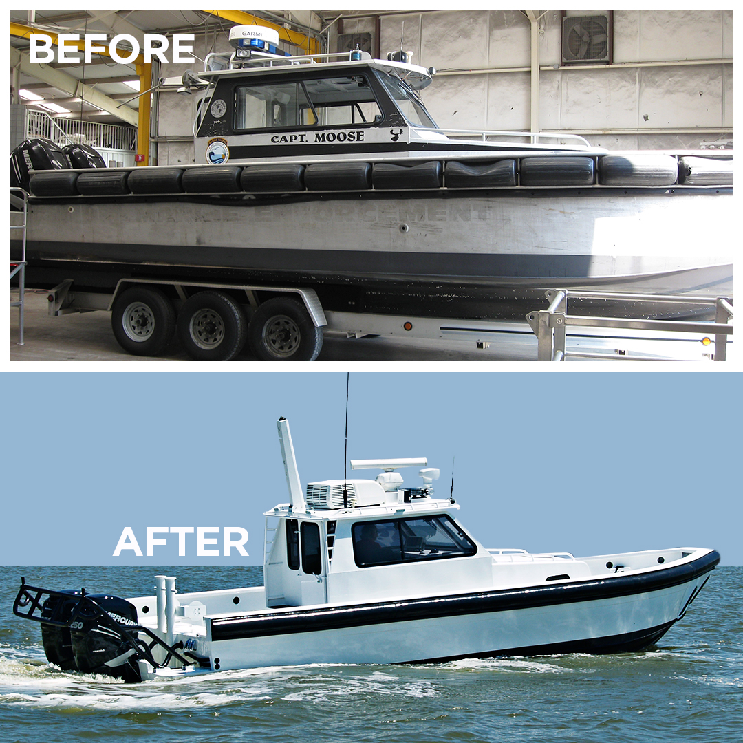 before and after photos of refurbished police boat