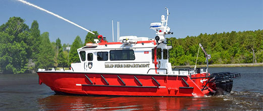 Islip Fire Department fire boat with spray